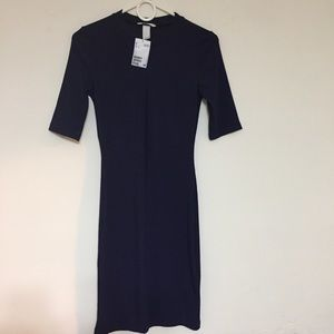 H&M Blue Dress US Size Small Stretch Textured NWT